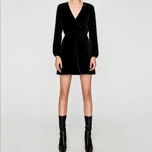 Zara black velvet wrap mini dress